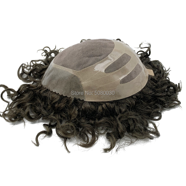 Human Hair Mens Hair Piece Toupee Replacement System Remy Hair Mono lace and Poly Bond