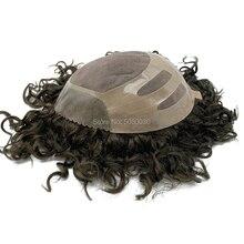 인간의 머리카락 망 머리 조각 toupee 교체 시스템 레미 헤어 모노 레이스와 폴리 본드