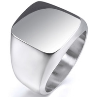 Men S Stainless Steel Ring Silver Signet Polished Fashion Personality Male Boys Accessories