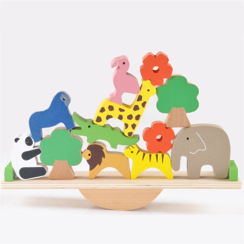 Enfants Montessori Matériaux 3D Animaux Balançoire Balance Blokcs Montessori Jouets En Bois Éducatifs Pour Enfants Bébé Aides Pédagogiques