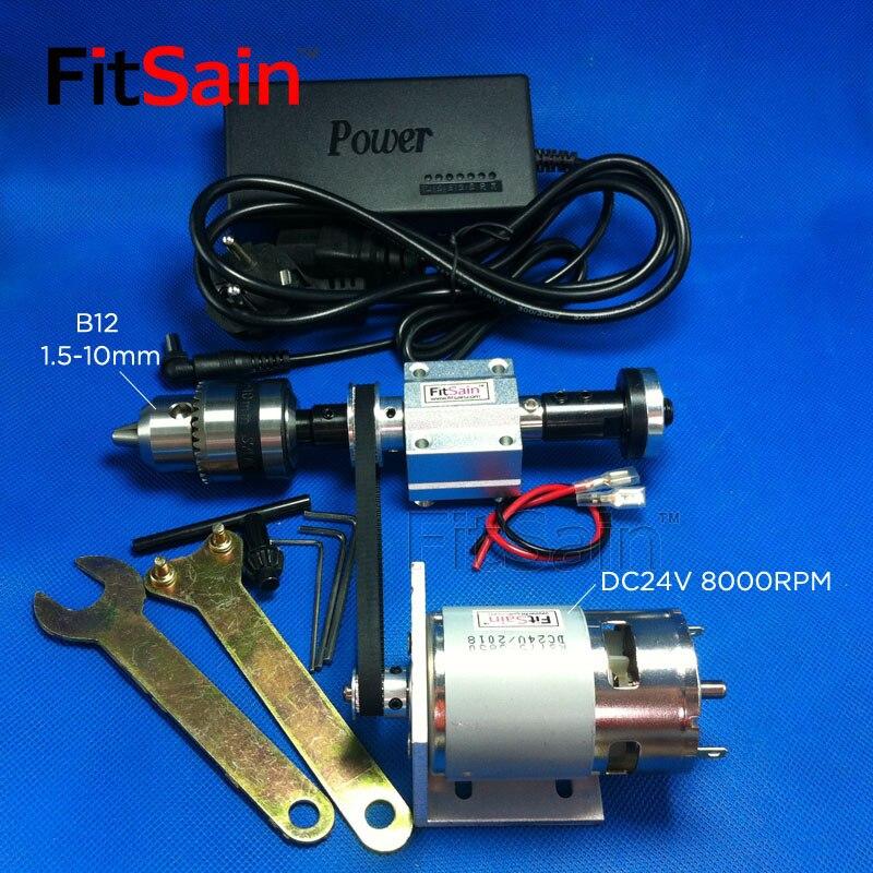 FitSain-mini table scie broche 2GT 775 B12 1.5-10mm bricolage banc scie broche précision transmission roulement siège tour avec puissance