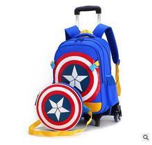 소년을위한 ZIRANYU 학교 트롤리 배낭 아이들을위한 바퀴 달린 학교 가방 학교 트롤리 가방에 바퀴 학교 롤링 배낭 가방