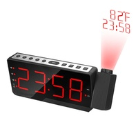 Digital Alarm Clock LED FM Radio Electronic Projection Clock Snooze Timer Temperature Display Radio Table Clocks Projector