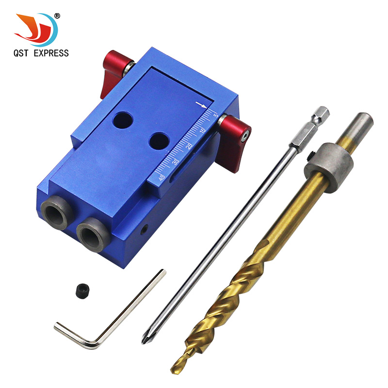 Mini Style Pocket Hole Jig Kit System For Wood Working & Joinery + Step Drill Bit & Accessories Wood Work Tool Set woodworking tool pocket hole jig woodwork guide repair carpenter kit system with toggle clamp and step drilling bit k527