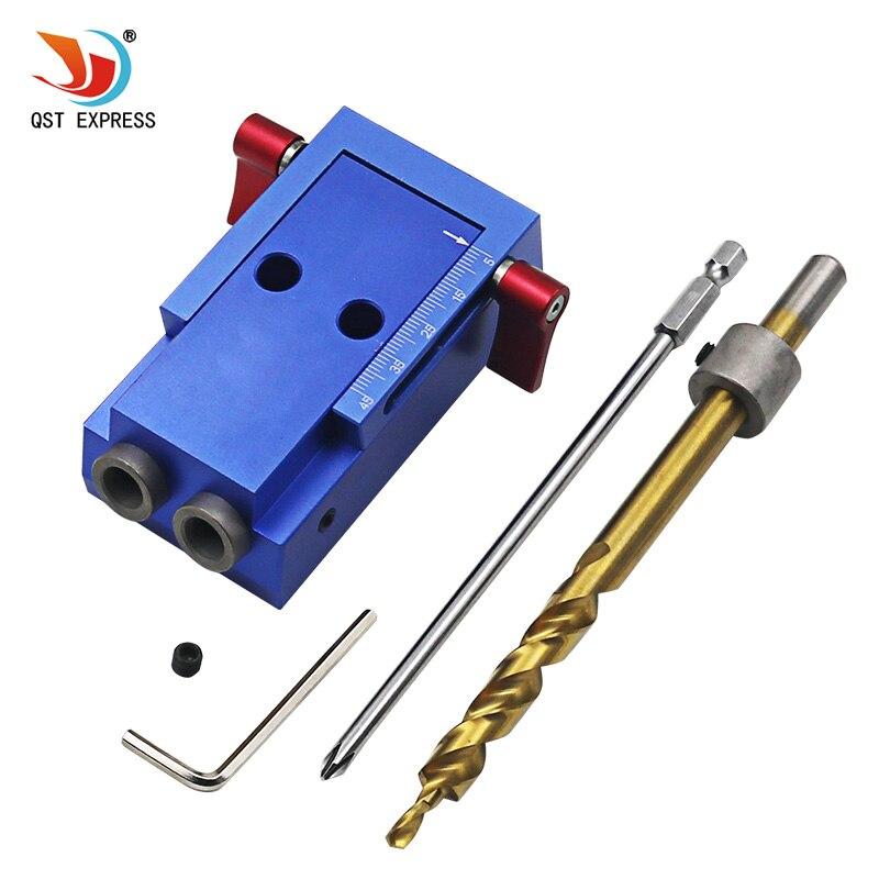 Stile Mini Pocket Hole Jig Kit Sistema Per La Lavorazione del Legno & falegnameria + Step Drill Bit e Accessori Strumento di Lavoro del Legno Set