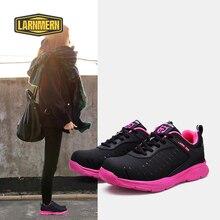 Larnmern ピンク女性の靴屋外作業安全靴鋼つま先キャップ抗スマッシングスニーカー反射ストライプセキュリティ