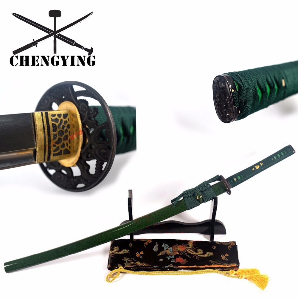 Hand Forged Quenched 9260 Spring Steel Full Tang Blade Japanese Green Theme Katana Samurai Battle Ready