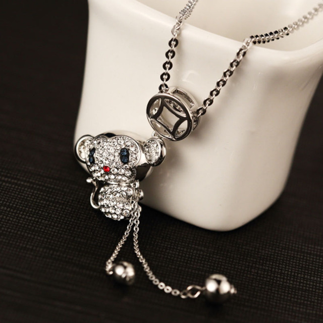 2015 New Arrival White Gold Plated Long Chain Fashion Cute Crystal Monkey Pendant Necklaces Jewelry For Women / Girls In Box