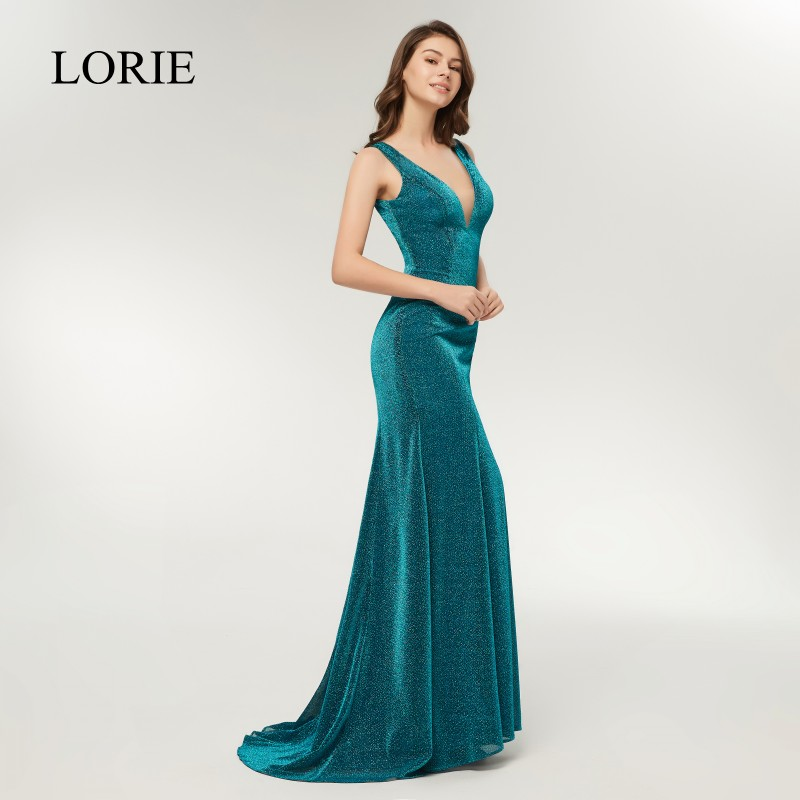 LORIE Deep V Neck   Prom     Dresses   Mermaid Sexy Robe De Soiree Longue 2018 Sparkly Sequin Formal Evening Gowns Long Party   Dresses