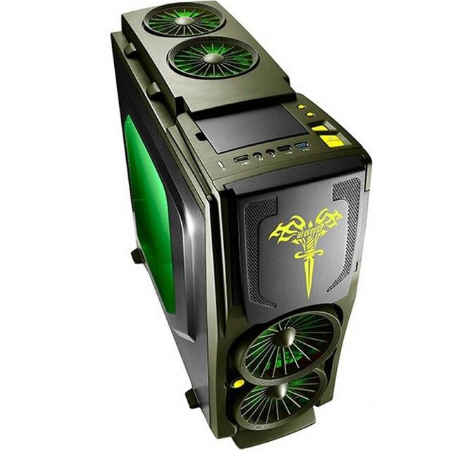 Caixa Do Computador Do jogo Do Exército Verde 120mm fã * 5, 7 slots PCI USB3.0 Livre Ferramentas Jogo de computador gamer gameing Titãs Blade3