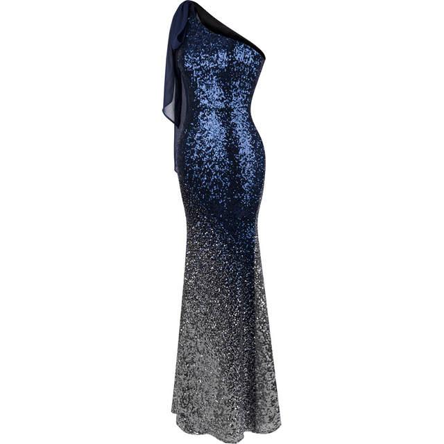827d3f86c1 placeholder Angel-fashions Gradiente De Lantejoulas Vestidos Sereia Azul  Longo Vestido de Noite Do Vintage 286