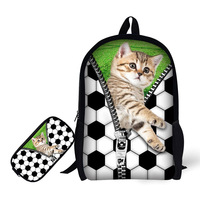 17 Inch Creative Cats And Dogs Animals Print School Backpack Children Schoolbags For Teenagers Boys Girls