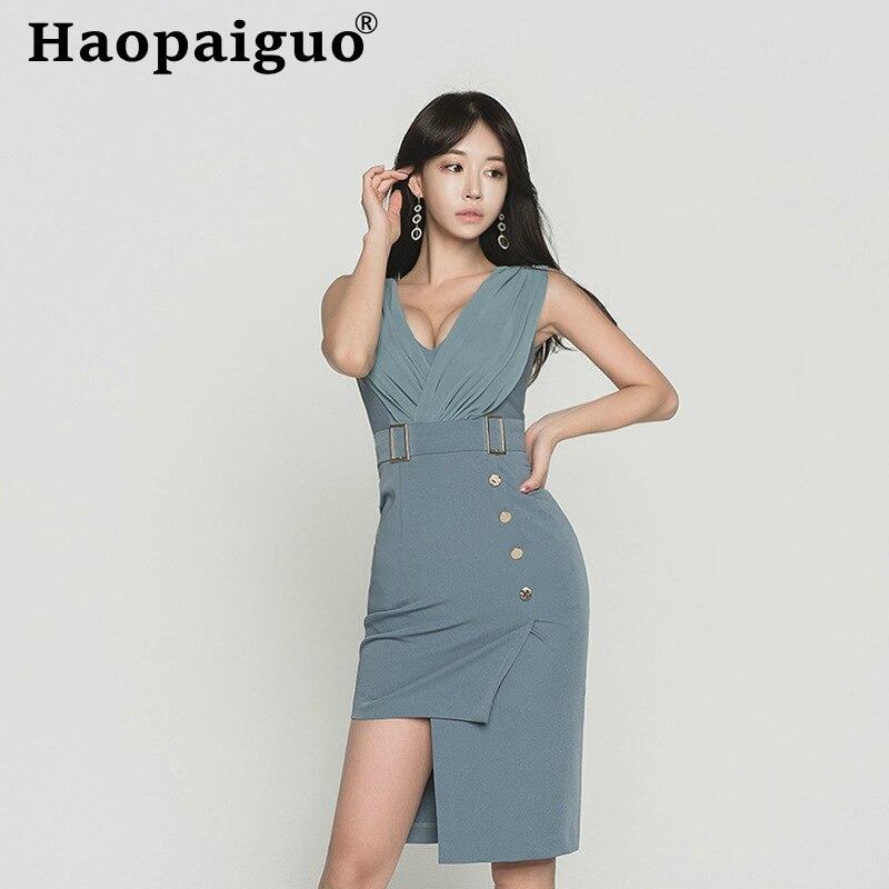 Femmes bleu sans manches robe d'été 2019 col en v Empire robe mi-longue femmes avec bouton asymétrique décontracté femmes robe grande taille