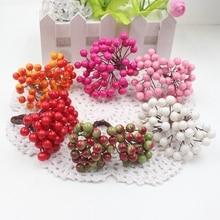 Cheap 25Pcs 50heads 0.6cm Berry Bacca Artificial Flower For Wedding Decoration DIY Scrapbooking Decorative Wreath Fake Flowers