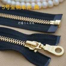 YKK5 # metal gold and copper single open zipper 20-120cm black - clothing down garment coat cardigan