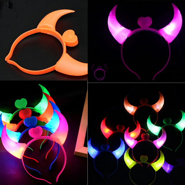 new arrival halloween costumes devil horns led flash light colorful baby hair hoops headwear head band