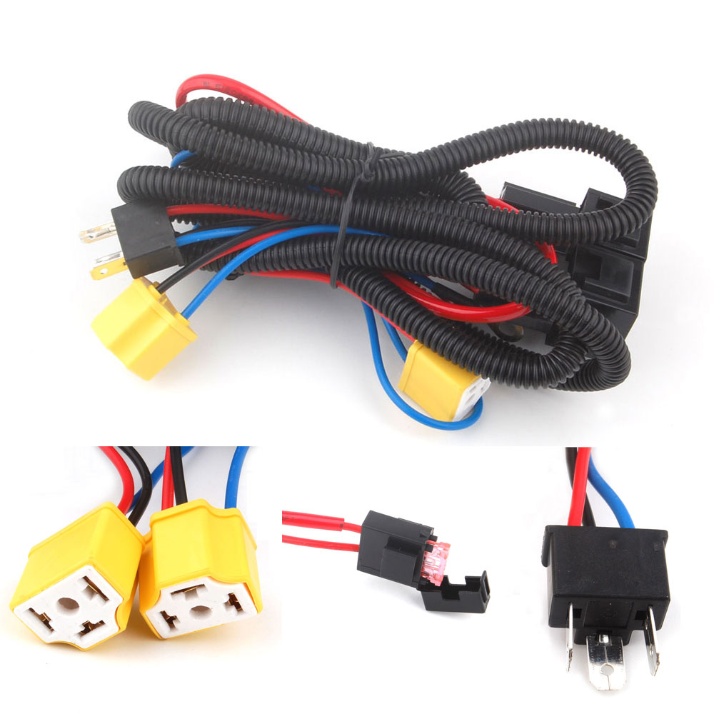 H4 Headlight Fix Dim Light Relay Wiring Harness System 2 Headlamp Light on