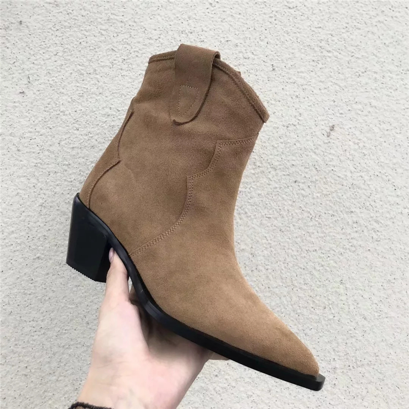 موجزة 2019 الخريف الجلد المدبوغ أحذية بوت قصيرة النساء صندل بكعب مكتنز فارس الأحذية الأزياء وأشار اصبع القدم الانزلاق على حذاء من الجلد للنساء-في أحذية الكاحل من أحذية على  مجموعة 3