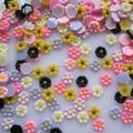 #40 30 unids lindos mezcla forma de la flor Nail decoración de la resina Outlooking