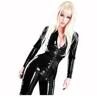 Sexy Black Catwomen Jumpsuit PVC Spandex Latex Catsuit for Women Front Zipper Open Crotch Body Suits Fetish Leather Costumes