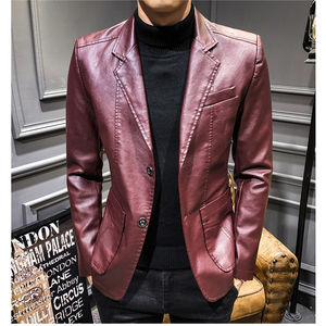 Image 4 - 2020 New Leather Jacket Streetwear Fashion Mens Leather Suit Jacket Clothes Casual Slim Fit Button Yellow Blue PU Blazer Coats