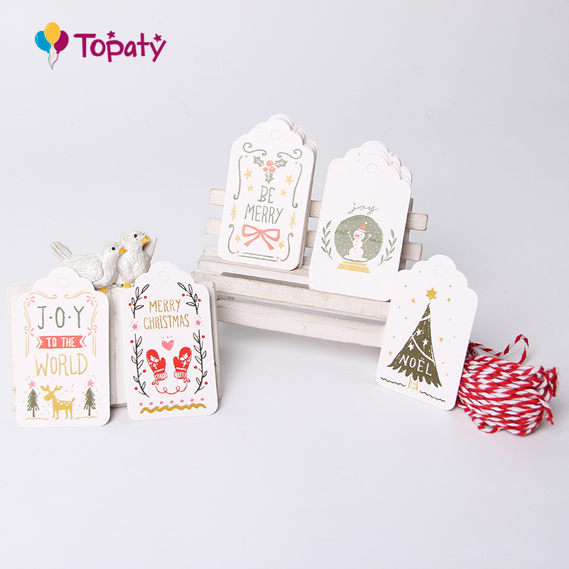 50PCs Paper Tags With String DIY Craft Label Luggage Party Favor Christmas Decoration Hanging Ornaments For Home Navidad