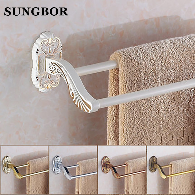 Golden Double Towel Bar 60cm, lvory white Towel Holder,Solid Brass Made,Gold Finished,Bathroom Accessories SL-5811R okaros bathroom double towel bar 60cm towel rack towel holder solid brass golden chrome plating bathroom accessories
