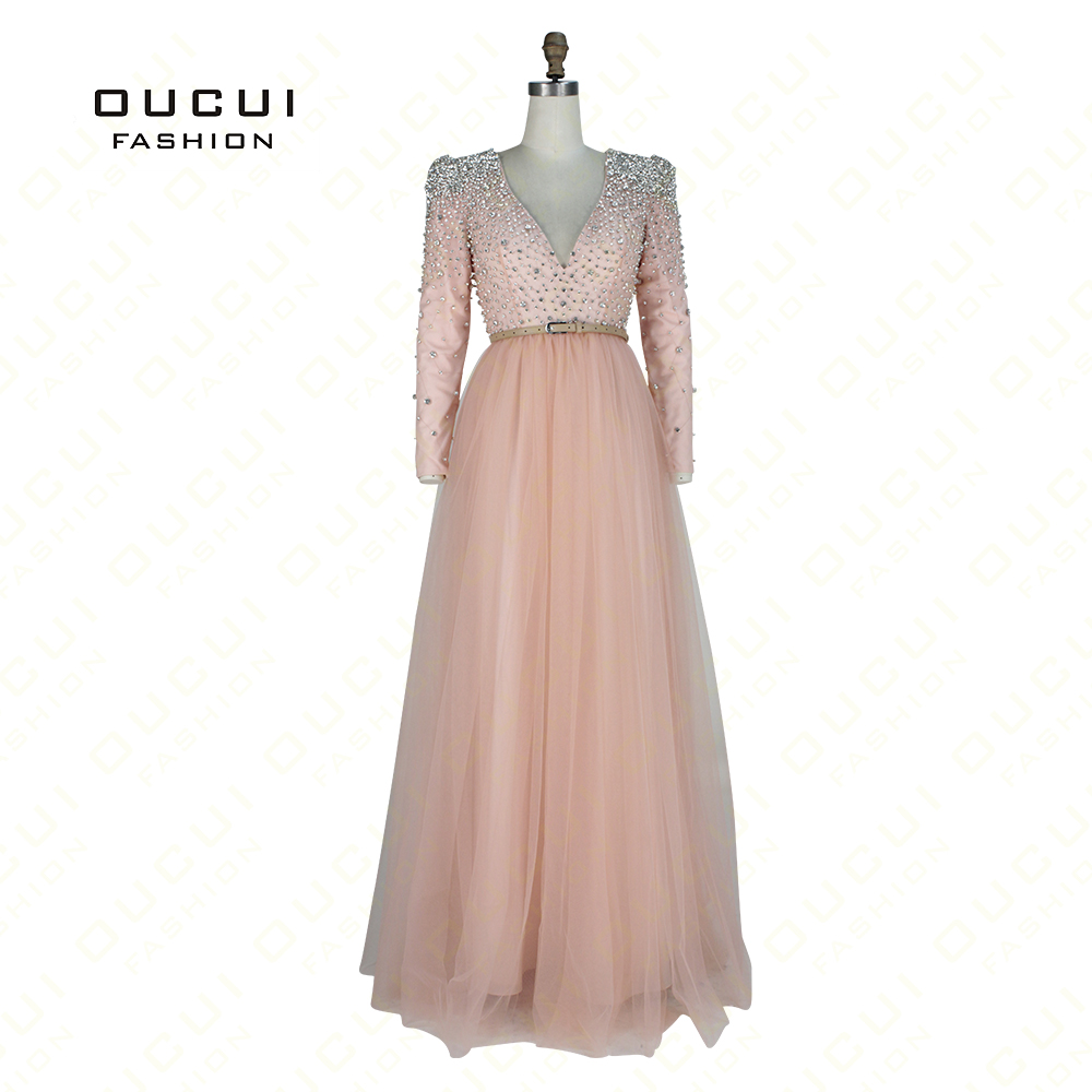 Real Photos Long Sleeves Pink Color Crystal V Neck Prom Gown Hand Made  Beading Long Evening c5dc14036d51