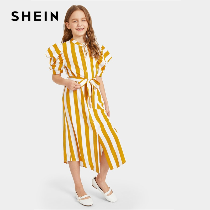 SHEIN Kiddie Yellow Striped Stand Collar Shirt Dress With Belt Kids 2019 Summer Puff Sleeve Casual Button Midi Tunic Dresses girls 2017 summer and autumn with flowers and bow belt tulle dress children roses peter pan collar long sleeved princess dress