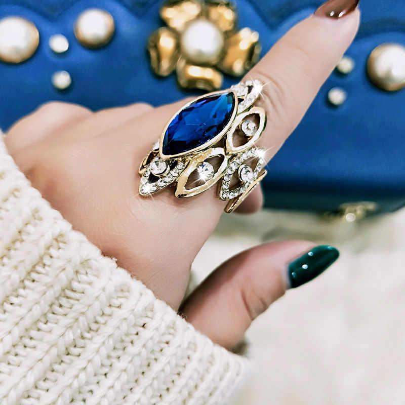 SINLEERY Luxury สไตล์แอฟริกัน Blue Cubic Zircon Big รถรับส่งแหวนสตรีขนาด 7 8 9 10 คำอธิบายสีทองแหวน Jz500 SSB