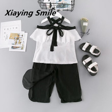 Girls Clothing Sets Summer Children Suspenders Shirt Kid Loose Short Pants Clothes Bowtie Fashion Casual Girls Sets