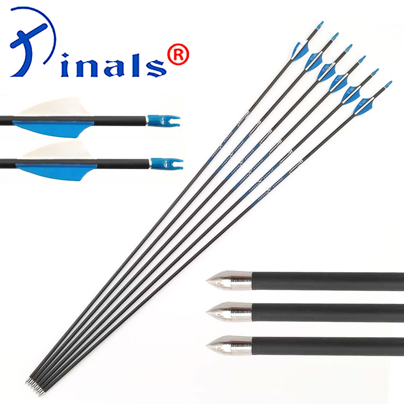 Pure Carbon Arrows Spine 500 600 700 800 900 1000 ID4 2mm Plastic Vanes Recurve Bow
