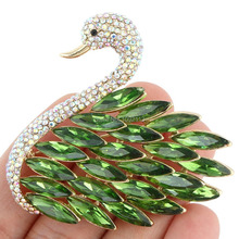 Bella 2015 New Spring 5 Colors Graceful Swan Rhinestone Brooch Pins Austrian Crystal Brooches For Women