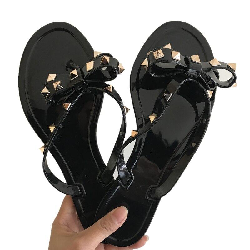 Myfitgo Summer Holiday Rivet Bowknot Flip Flops Girls Beach Slides Women Sandals Slip On Flat Jelly Shoes Women Studs Slippers