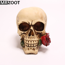 MRZOOT Gothic Punk Resin Crafts Romantic Home Decoration Halloween Rose Creative Skull Sculpture