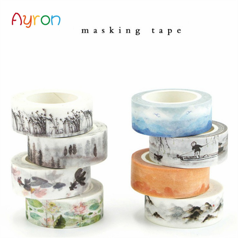1pcs 1.5cm*7m Ink Painting Landscape Washi Tape DIY Decoration Scrapbooking Planner Masking Tape Adhesive Tape Label Sticker