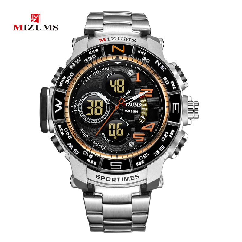2018 brave for men cool big case golden steel band dual time zones watches for men led digital quartz mens watches drop shipping 2019  (71)