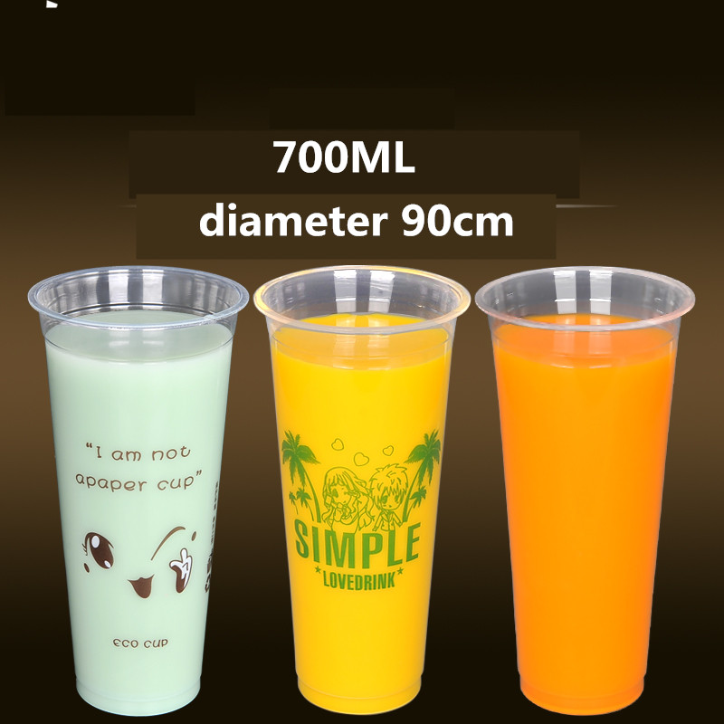wholesale 1000pcs disposable thicken plastic cup,90cm diameter 700ml bubble tea plastic cup, milk tea cup free shipping simelo natural element series jazz tea cup