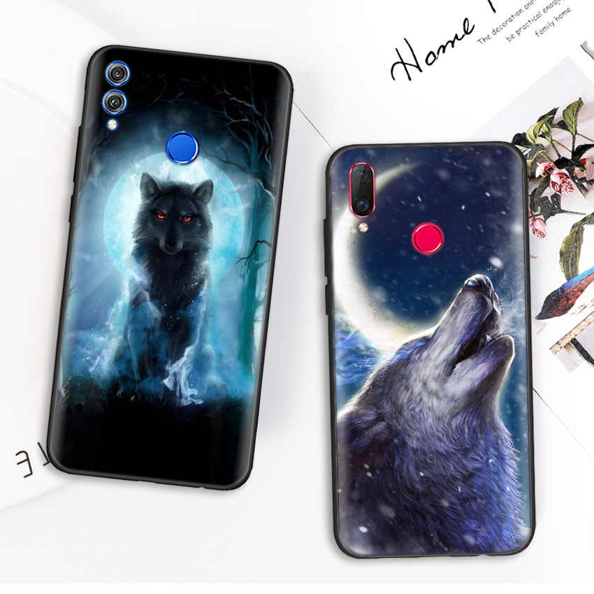 Black Silicone Case Bag Cover for Huawei Honor 10i Y7 Y6 Y5 Y9 8X 8C 8S 9 10 Lite Pro 2018 2019 Enjoy 9E 9S Fierce Snow Wolf