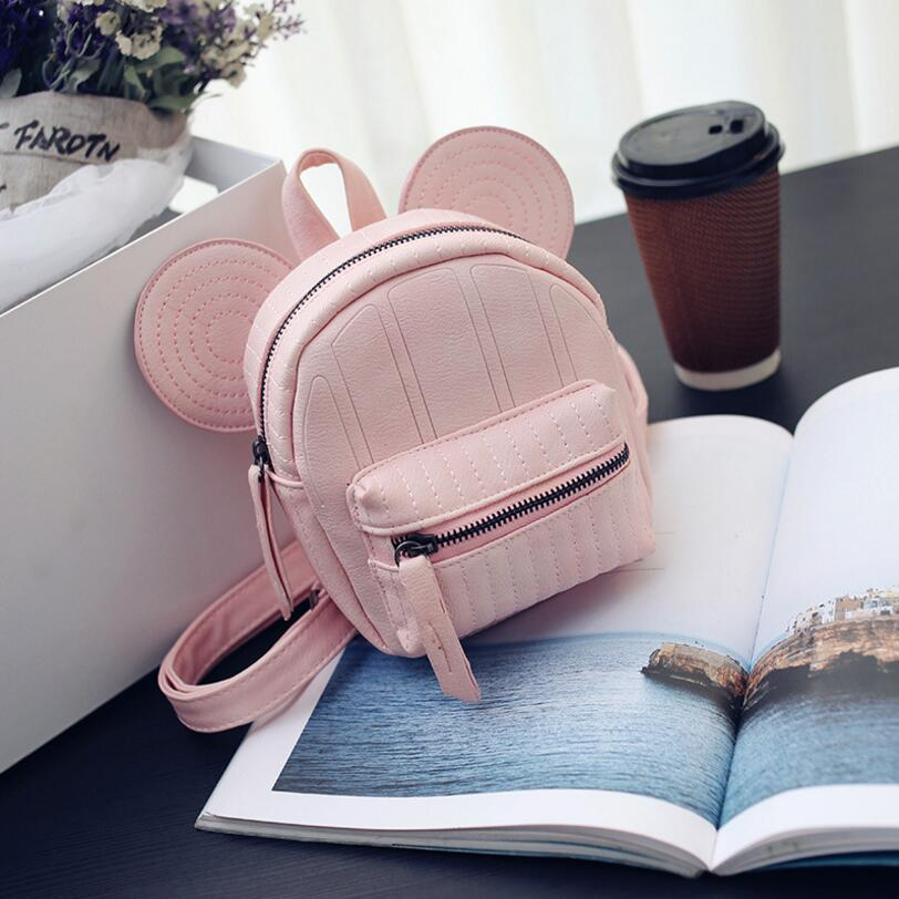 Women Leather Backpacks Cartoon Mickey Ears Fashion Mini Casual Bags For School Students Teenagers Travel Small Cute Child Bag 2017 new women leather backpacks students school bags for girls teenagers travel rucksack mochila candy color small shoulder bag