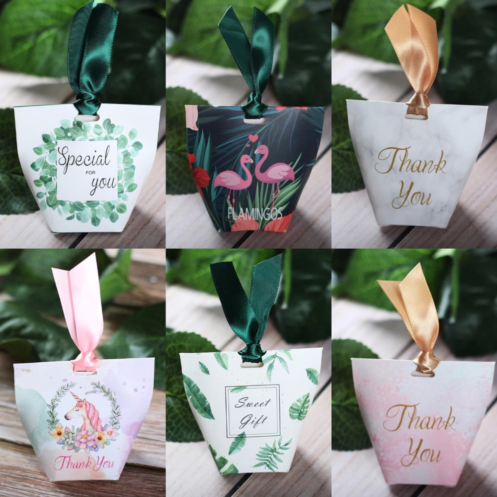 100pcs Creative Flamingo Eucalyptus unicorn leaves florals Marble Candy Box Wedding Favors baby shower Party Supplies