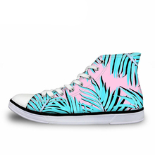 NOISYDESIGNS Casual Women High Top Vulcanize Shoes View/Tropical Plant Print Canvas Girls Ladies Breathable Sneakers