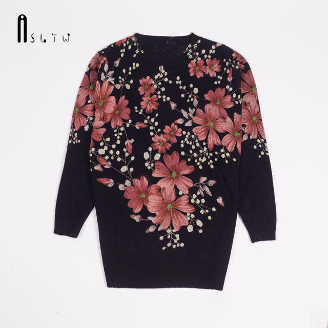ASLTW Plus Size Pullover Sweater Women High Quality Fashion Print Flower Pullovers Women O Neck Long Sleeve Sweater For Women