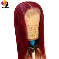 Remyblue 99J Red Burgundy Lace Front Human Hair Wigs for Black Women Straight Lace Front Wig Ombre Peruvian Remy Human Hair Wigs