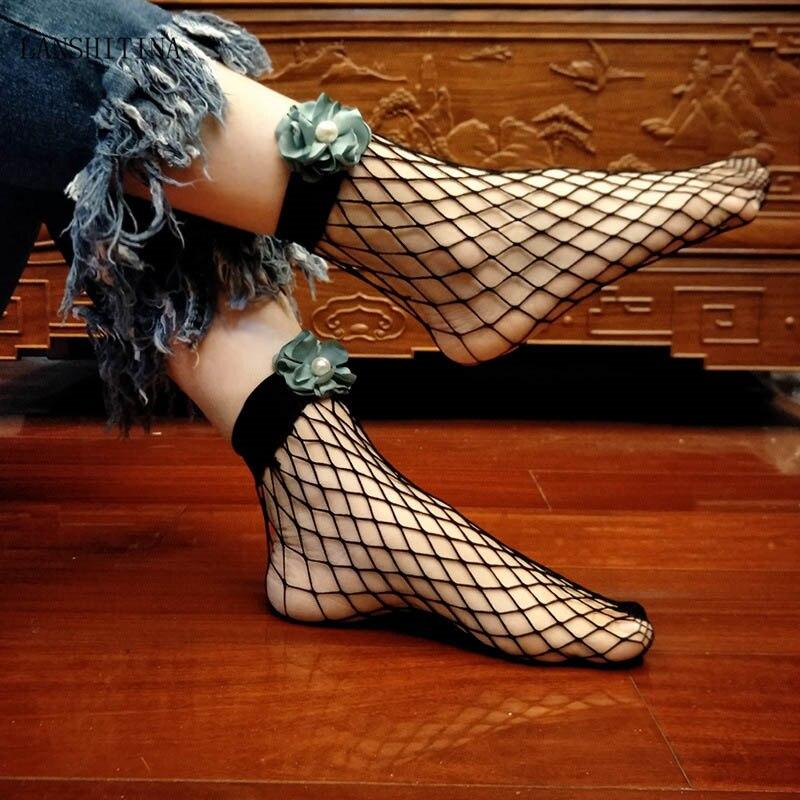 LANSHITINA Popular Chic Thin Fishnet Sock Women Punk Cool Mesh Short Socks Females Fashion Hollow Out Socks with Bow