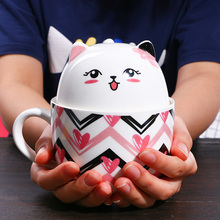 Lovely Plutus Cat Mugs Cup Ceramic Coffee Tea Milk Drinkware With Cover Christmas Gift