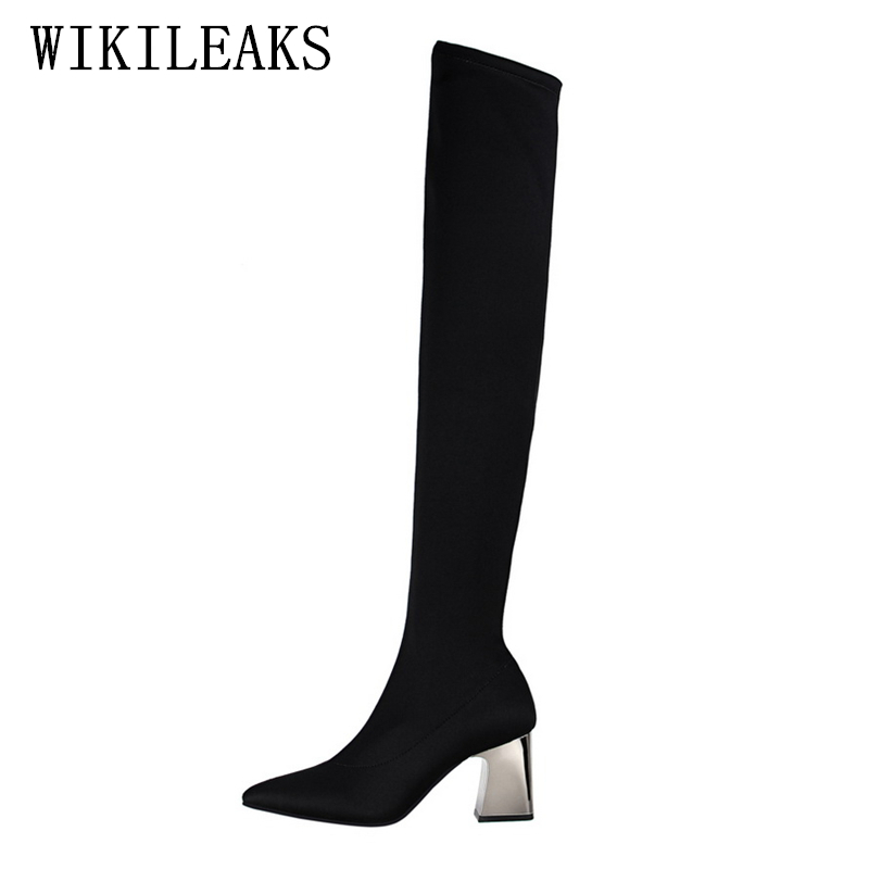 ladies thigh high boots women shoes woman over the knee boots 2018 fetish high heels botines mujer high heel boots bigtree shoes choudory botines mujer black thigh high boots square heel round toe zip over knee high boots fashion motorcycle booties women