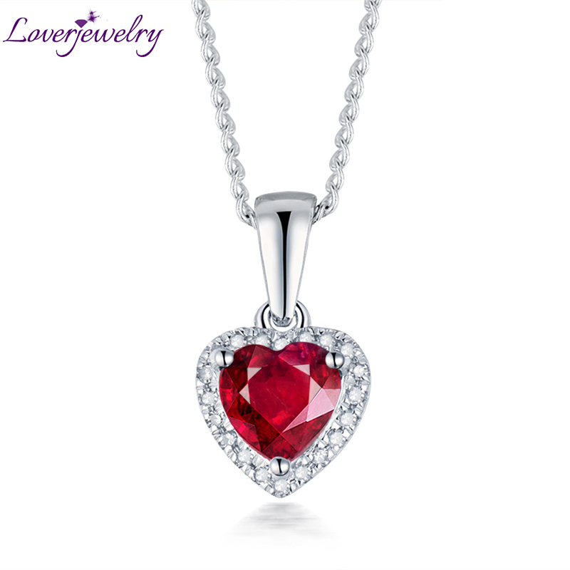 Heart Pendant Solid 14K White Gold Diamond Ruby Female Pendant Necklace Without Chain For Girlfriend Anniversary