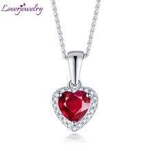 33aeb22eb1fb Colgante de corazón sólido 14 K oro blanco diamante rubí mujer colgante  collar sin cadena para novia aniversario regalo de la jo.