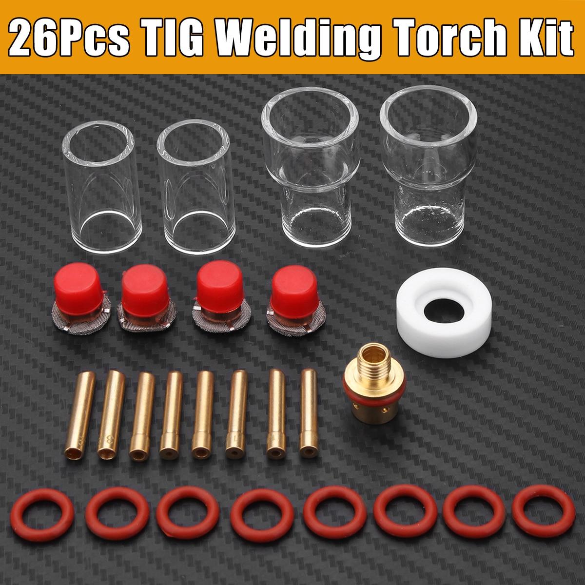 26P[cs Professional Practical Durable TIG Welding Accessories Torch Stubby Gas Lens Glass Nozzle Cup Kit For WP-9/20/25 48 pcs tig welding kit gas lens for tig welding torch wp 9 wp 20 wp 25 wz8 3 32